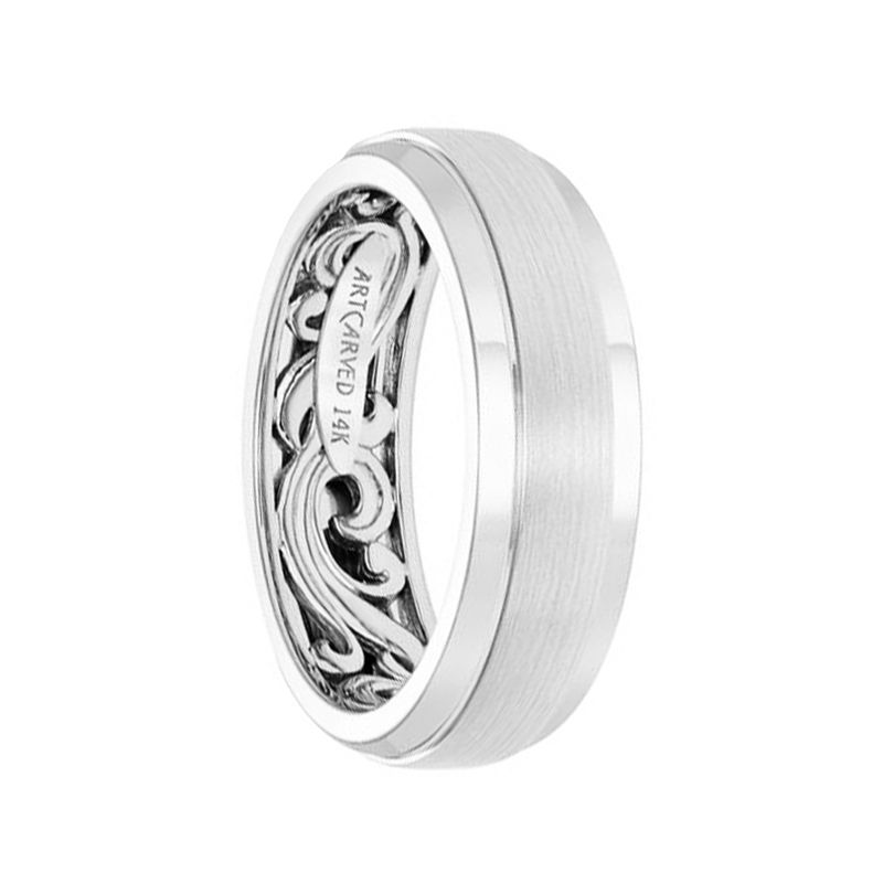 14k White Gold Wedding Band Scroll-Work Inner Design Domed Satin Brushed Finish by Artcarved - 7mm