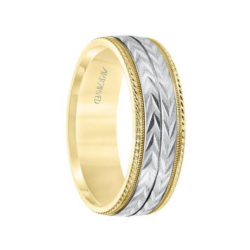 14k Two Toned Yellow & White Gold Center Wedding Band Flat Multiple Directional Wheat Motif Satin Brushed Inlay Design Milgrain Rope Edges by ArtCarved - 7mm