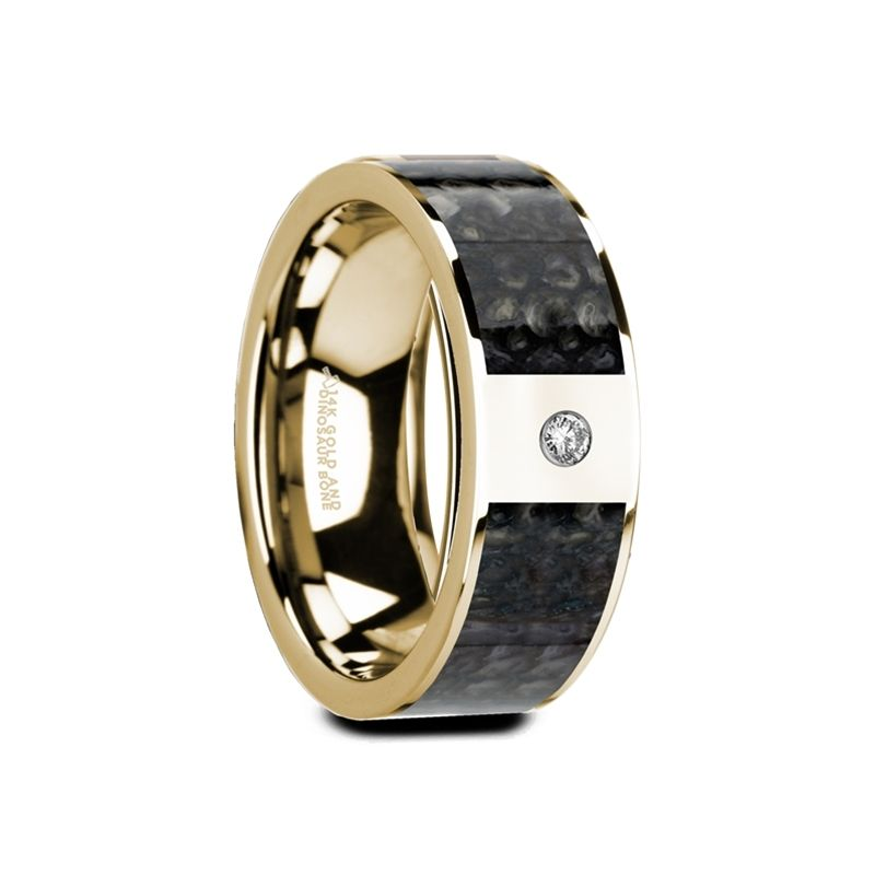 GAUFRID Flat 14K Yellow Gold with Blue Dinosaur Bone Inlay & White Diamond Setting - 8mm