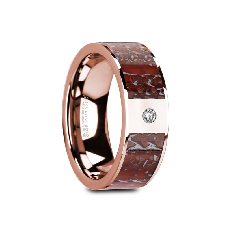 GRUEV Flat 14K Rose Gold with Red Dinosaur Bone Inlay & White Diamond Setting - 8mm