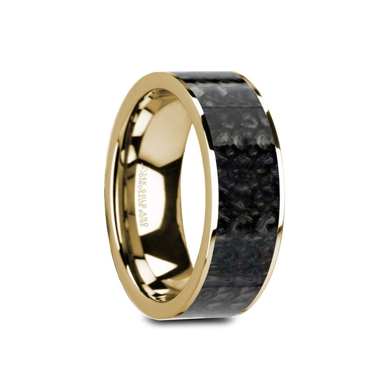 GERONIMO Flat 14K Yellow Gold with Blue Dinosaur Bone Inlay and Polished Edges - 8mm