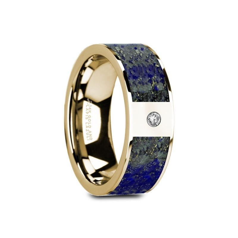 GENE Flat 14K Yellow Gold with Blue Lapis Lazuli Inlay & White Diamond Setting - 8mm
