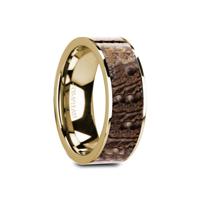 GALINTHIAS Flat 14K Yellow Gold with Brown Dinosaur Bone Inlay and Polished Edges - 8mm