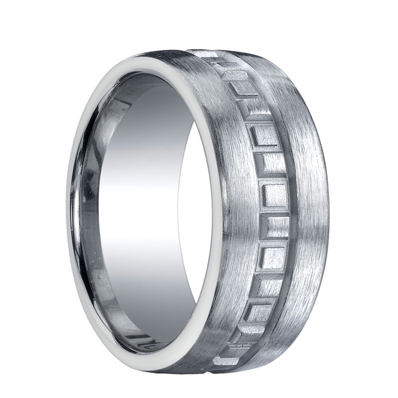 BAKER Extra Wide Flat Brushed Finished Silver Wedding Band with Square Facets by Benchmark - 10mm
