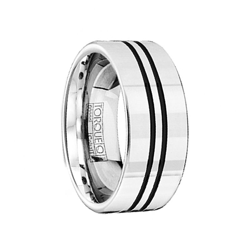 Polished Flat Style Cobalt Wedding Band with Black Enamel Inlay by Crown Ring - 9mm