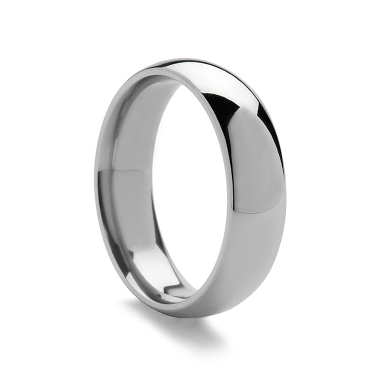 Domed 950 Platinum Ring with Polished Finish