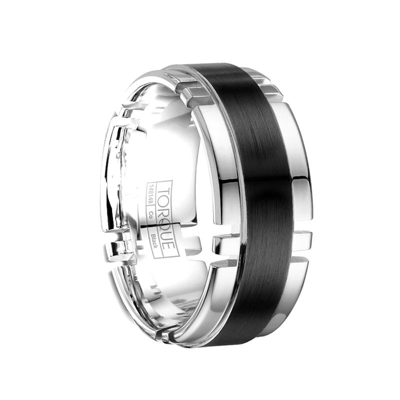 Torque Black Cobalt Wedding Band Brushed Finish with Polished Cut Out Edges by Crown Ring - 9 mm