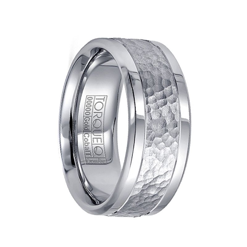 Dual Grooved Polished Cobalt Wedding Band with Hammered 14k White Gold Inlay by Crown Ring - 9mm