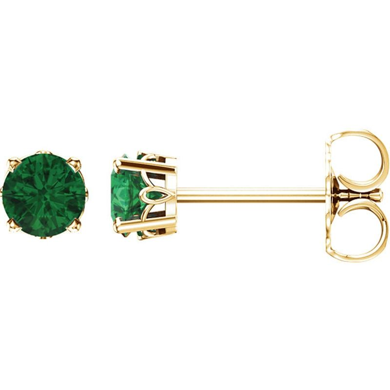 14k Yellow Gold Lab Created Emerald 4-Prong Scroll Setting Stud Earrings