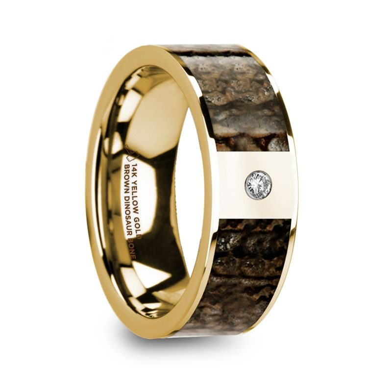 PHILANDROS Polished 14k Yellow Gold with Brown Dinosaur Bone Inlay Men's Wedding Band with Diamond - 8mm