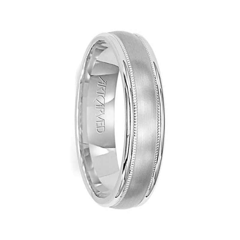 14k White Gold Women's Wedding Band with Milgrain Brushed Finish Center Round Edges by Artcarved - 4.5mm