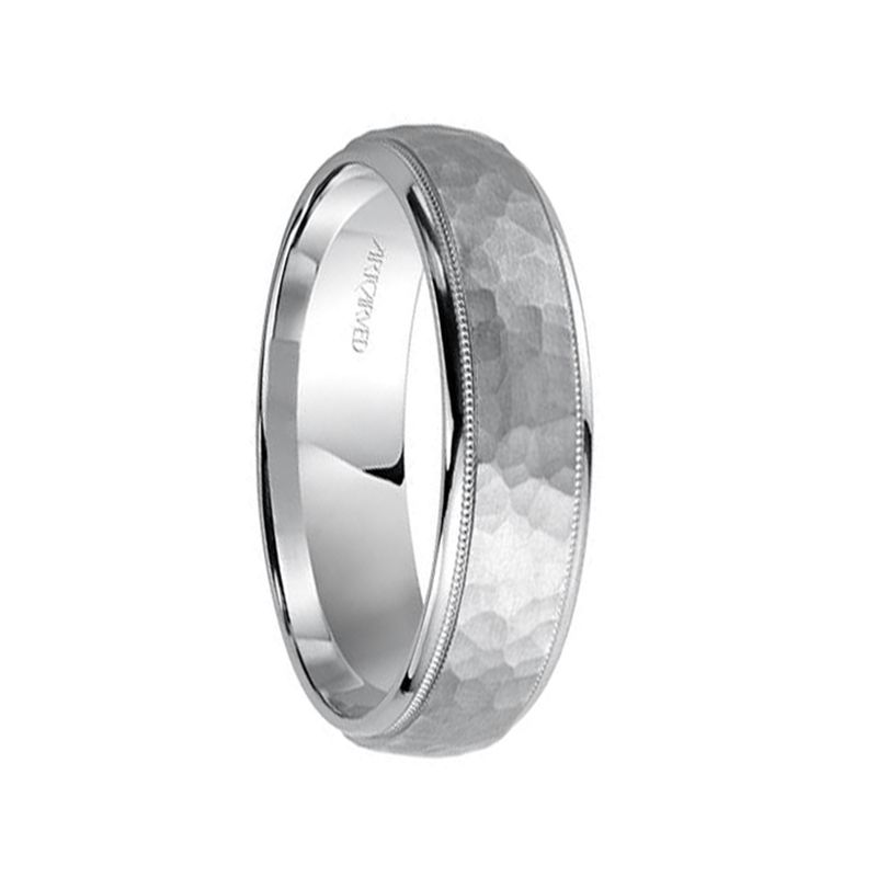 14k White Gold Women's Wedding Band Raised Hammered Satin Finish with Dual Milgrain Rolled Edges by Artcarved - 4mm