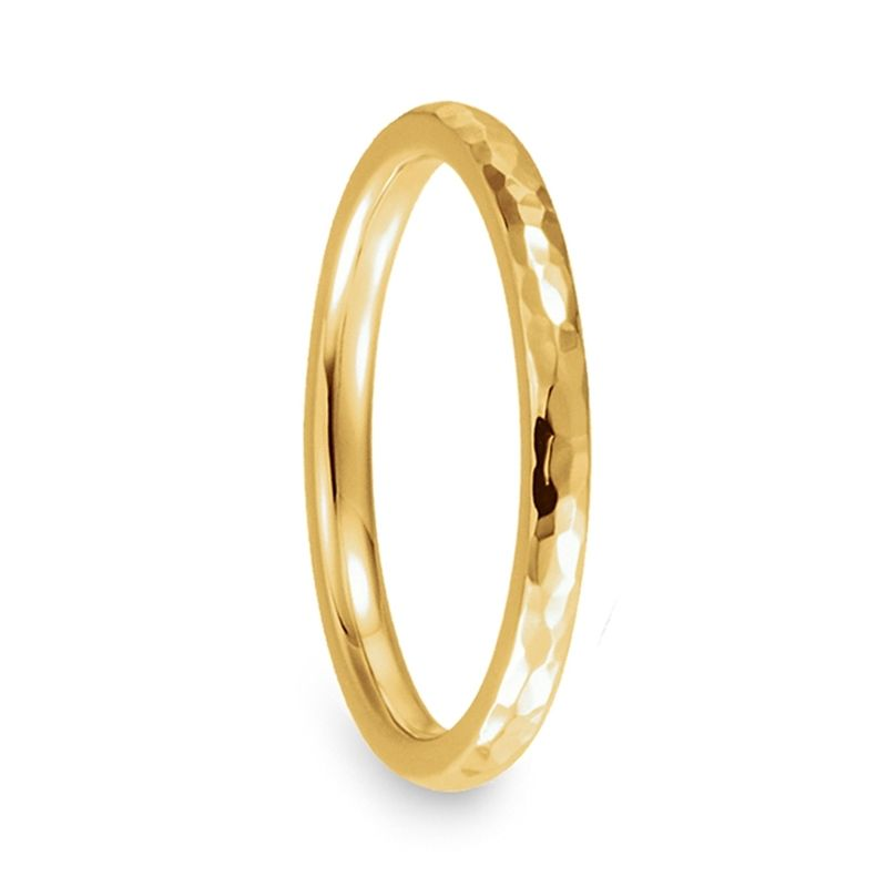 14k Yellow Gold Women's Domed Wedding Band with Polished Hammered Finish - 2mm & 4mm