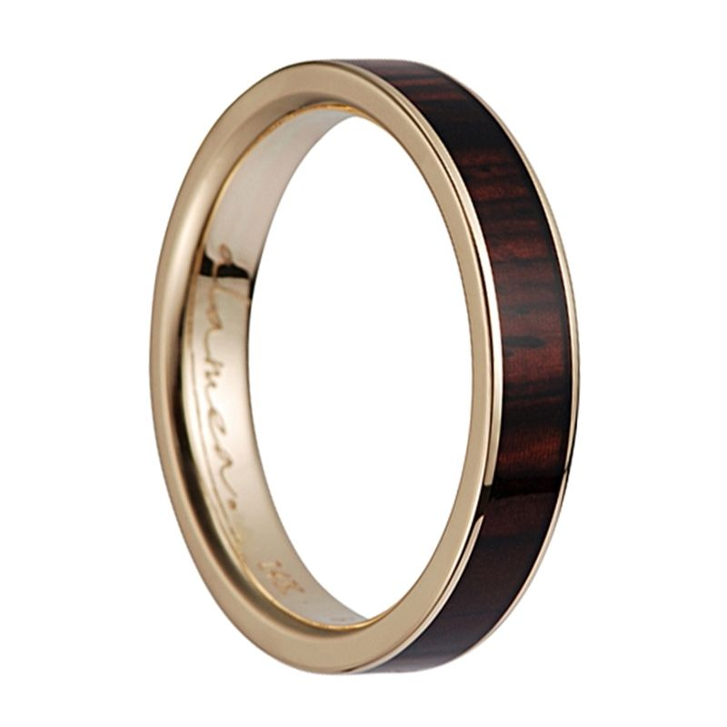 14K Yellow Gold Women's Flat Wedding Ring With Cocobolo Wood Inlay - 4mm
