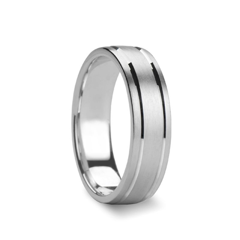 ISIDORE Flat Brush Finished Silver Wedding Ring with Grooves by Novell - 4mm - 8mm