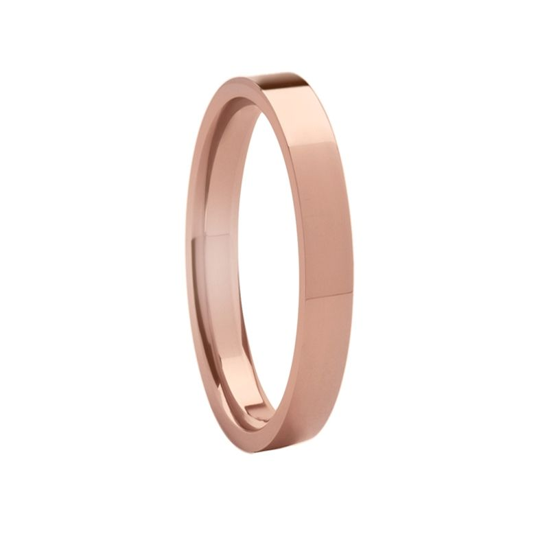 Women's Flat Style 14K Rose Gold Ring with Polished Finish - 2mm-5mm