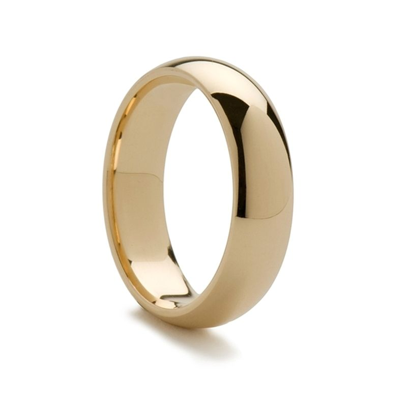 14k Yellow Gold Domed Ring with Polished Finish