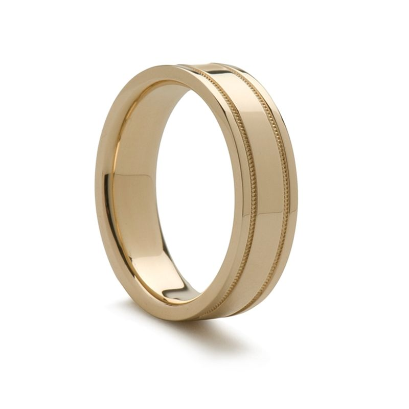 14k Yellow Gold Wedding Ring with Milgrain Edges