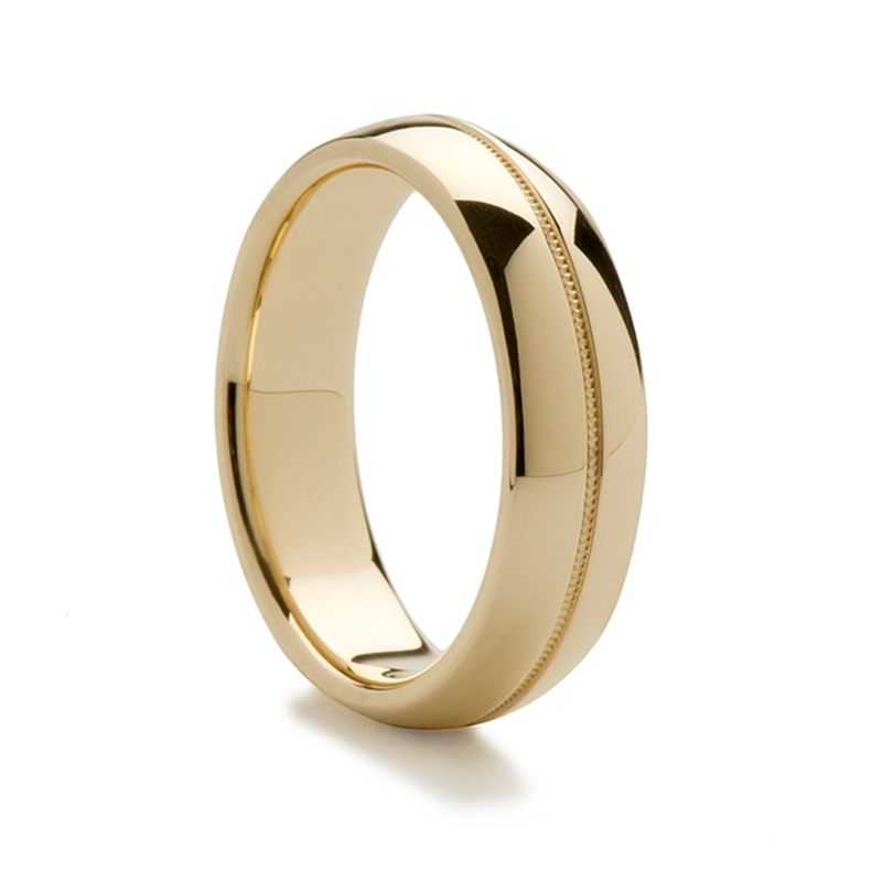 14k Yellow Gold Domed Ring with Milgrain Center