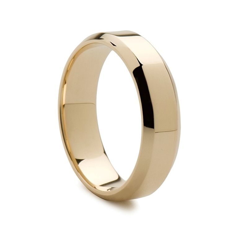 14k Yellow Gold Flat Women's Wedding Band Polished Finish Beveled Edges
