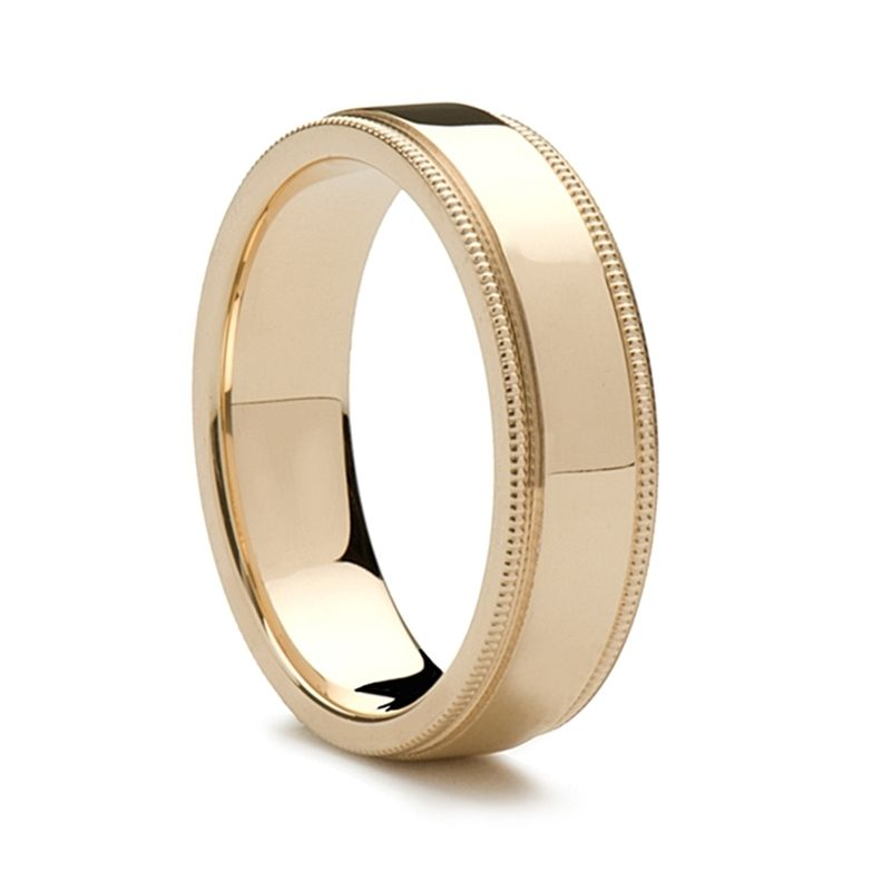 14k Yellow Gold Women's Wedding Band Flat Polished Milgrain Edges