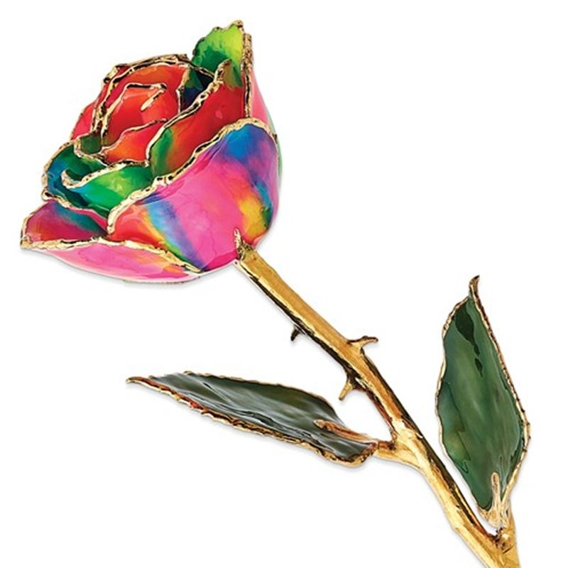 Gold Dipped Aurora Neon Rainbow Rose with Lacquer Coating