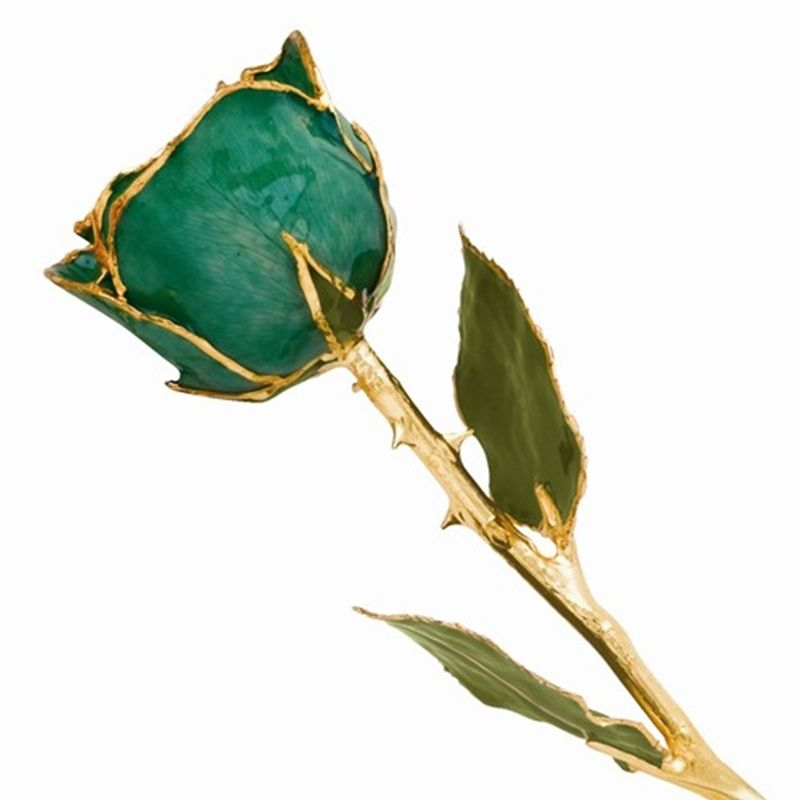 Gold Dipped Green Rose with Lacquer Finish