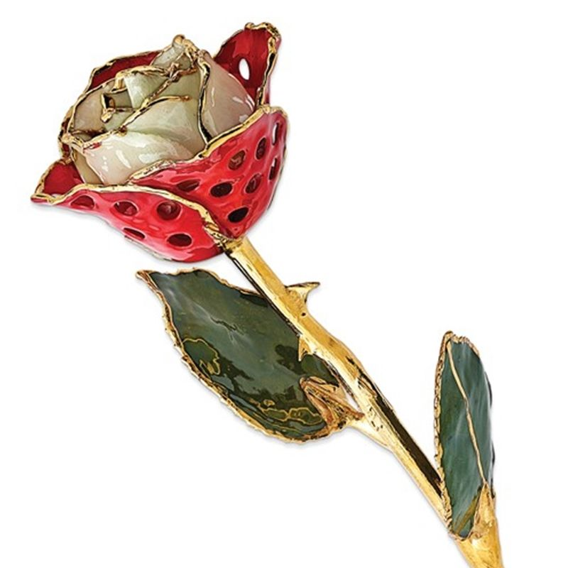 Gold Dipped Lacquered Red & White Rose with Hole Pattern