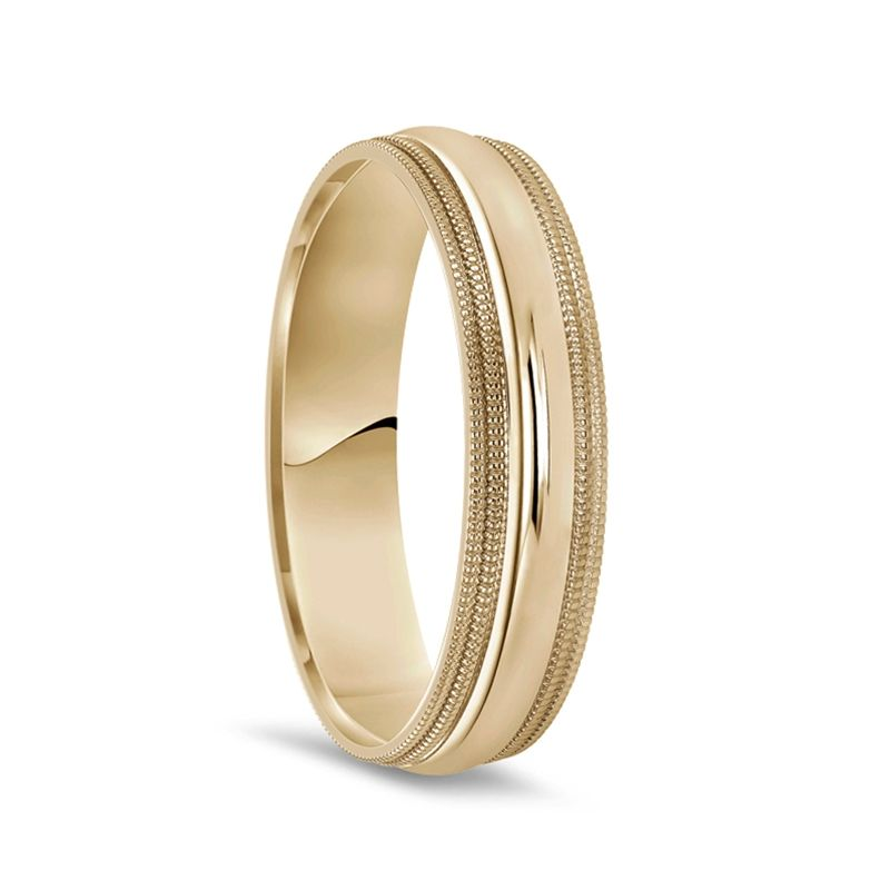 Men's 14k Yellow Gold Polished Finish Extra Wide Domed Wedding Ring with Double Milgrain - 10mm