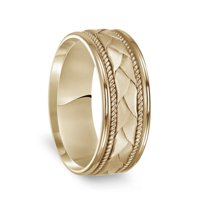 14k Yellow Gold Woven Pattern Mens Wedding Ring with Rope Milgrain - 8mm