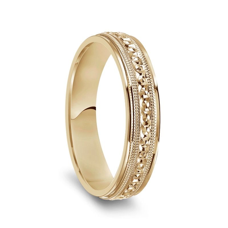 14k Yellow Gold Milgrain Accented Women's Polished Wedding Ring - 4mm & 6mm