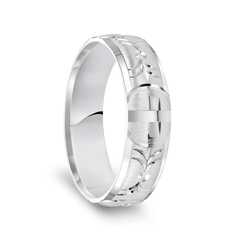 14k White Gold Satin Finished Polished Edges Ring with Polished Cross Cuts - 6mm