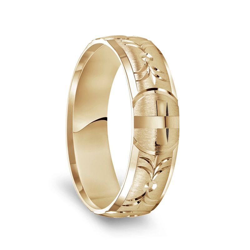 14k Yellow Gold Satin Finished Polished Edges Ring with Polished Cross Cuts - 6mm