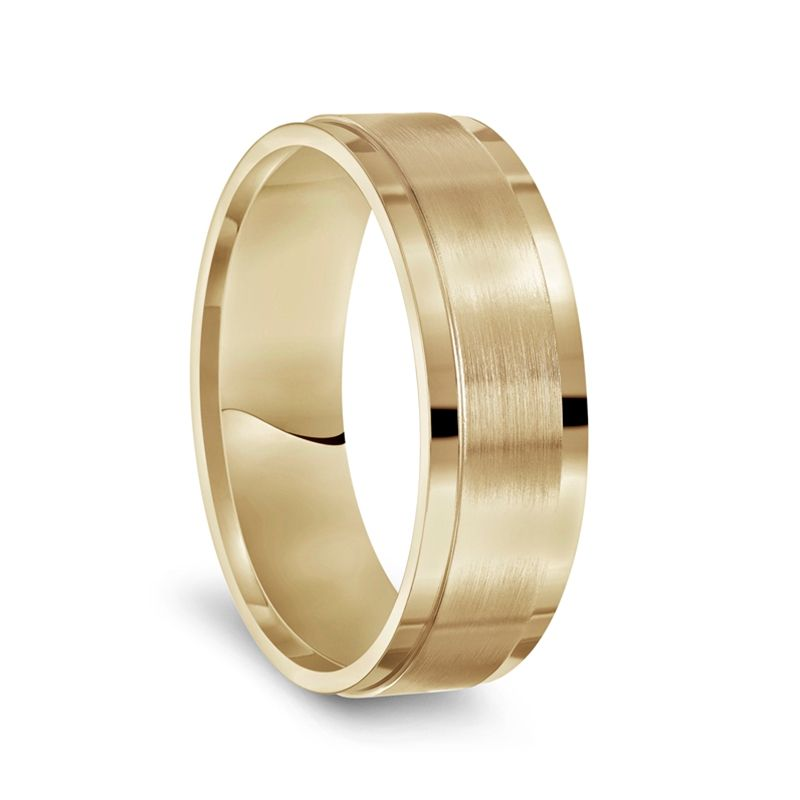 14k Yellow or White Gold Brushed Center Men's Wedding Band with Polished Step Edges - 7mm