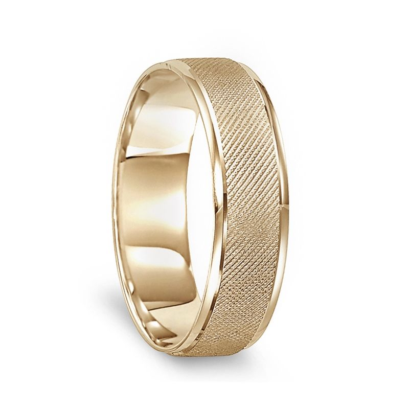 14k Yellow Gold Sand Finished Wedding Ring with Polished Round Edges - 6mm