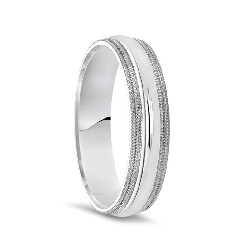 14k White Gold Polished Finish Men's Domed Wedding Ring with Double Milgrain - 7mm - 10mm