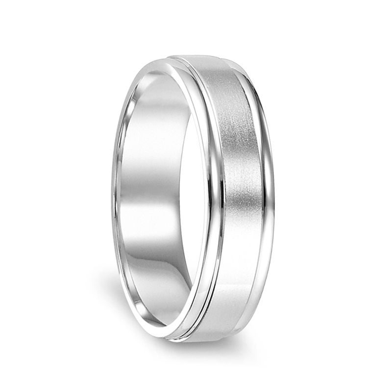 14k White Gold Brushed Finished Women's Ring with Polished Edges - 4mm - 6mm