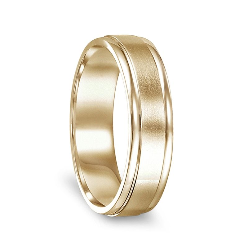 14k Yellow Gold Brushed Finished Women's Ring with Polished Edges - 4mm - 6mm