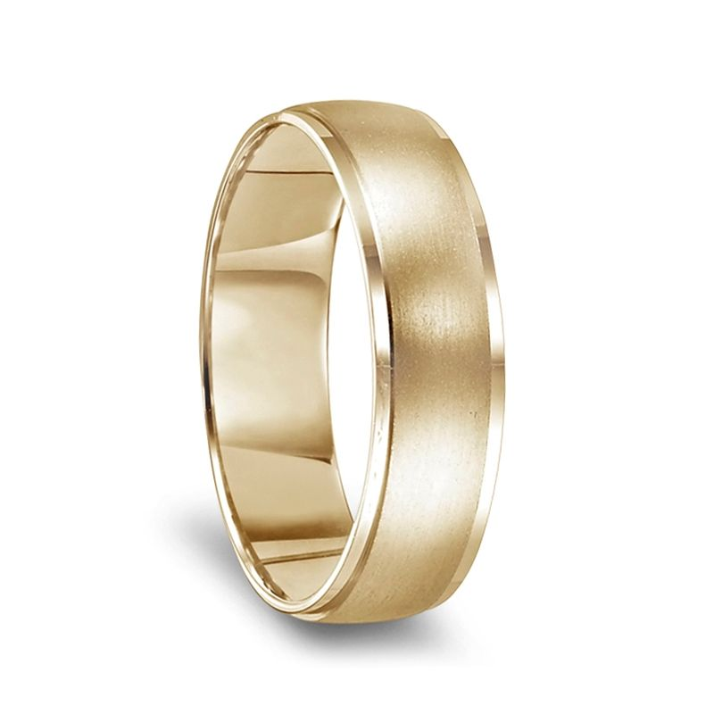 14k Yellow Gold Brushed Center Women's Wedding Ring with Polished Beveled Edges - 4mm - 8mm
