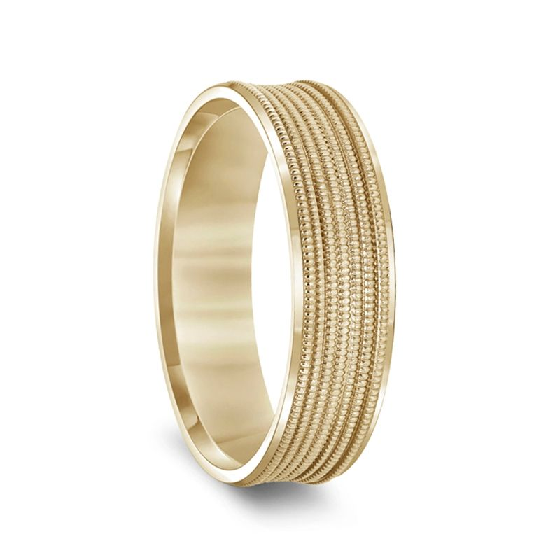 14k Yellow Gold Multi-Milgrain Concave Women's Wedding Ring with Polished Beveled Edges - 4mm & 6mm