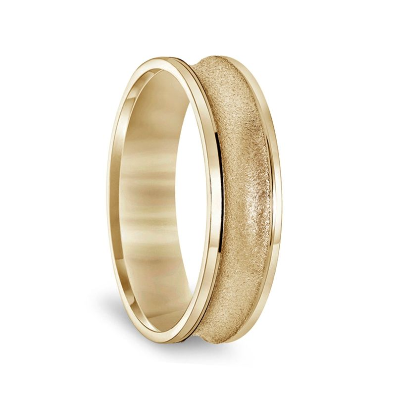 14k Yellow Gold Concave Women's Ring with Textural Finish & Polished Round Edges - 4mm & 6mm