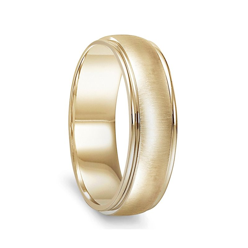14k Yellow Gold Brushed Finished Womens Wedding Band with Polished Round Edges - 4.5mm