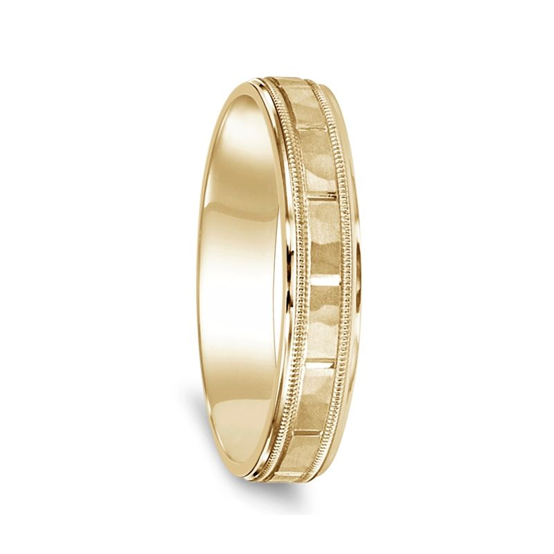 14k Yellow Gold Satin Hammer Finished Womens Wedding Ring with Milgrain - 4.5mm