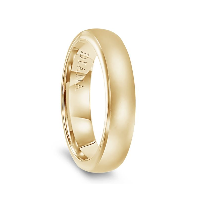 14k Yellow Gold Satin Finish Womens Flat Wedding Band by Diana - 5.5mm