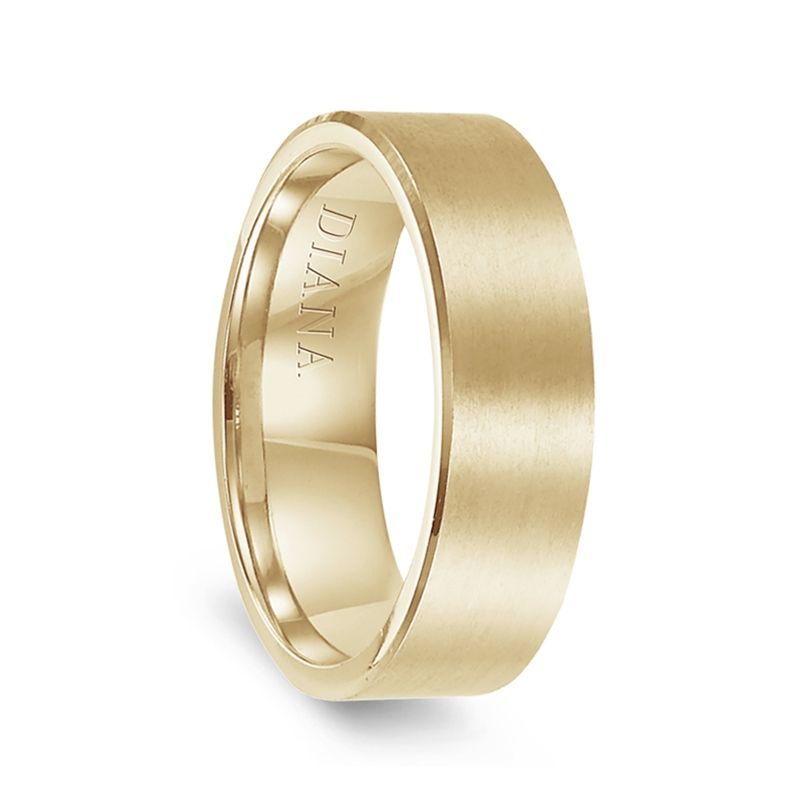 14k Yellow Gold Brushed Finish Men's Flat Wedding Ring by Diana - 7mm