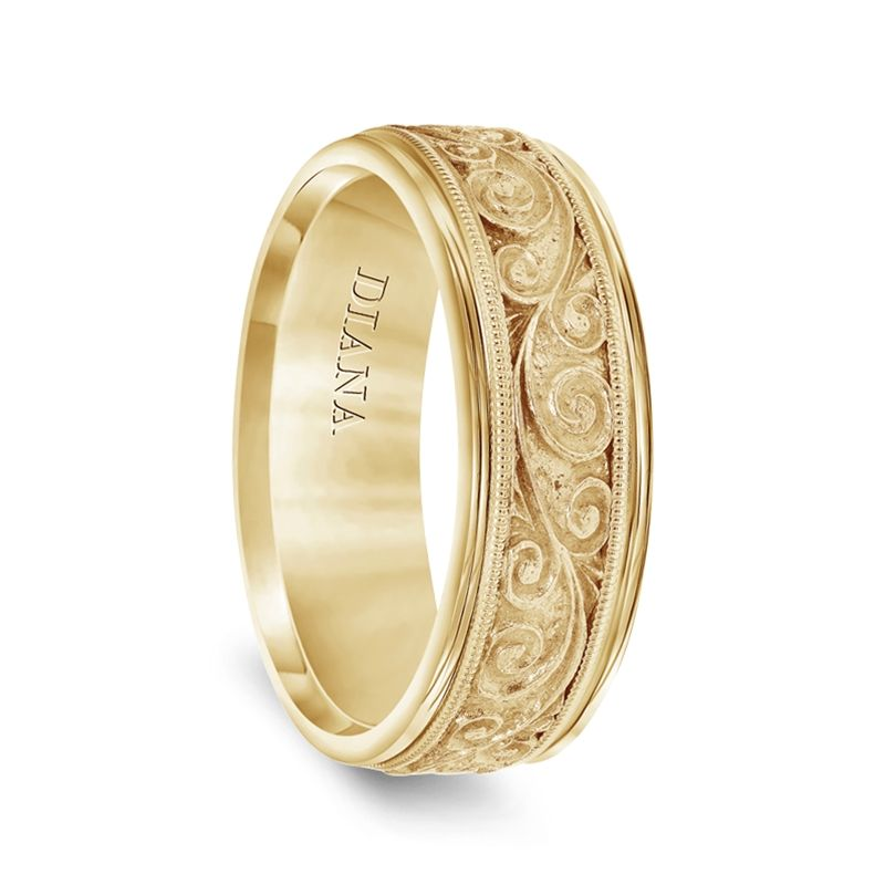 14k Yellow Gold Mens Milgrain Wedding Ring with Textured Scroll Pattern by Diana - 7.5mm