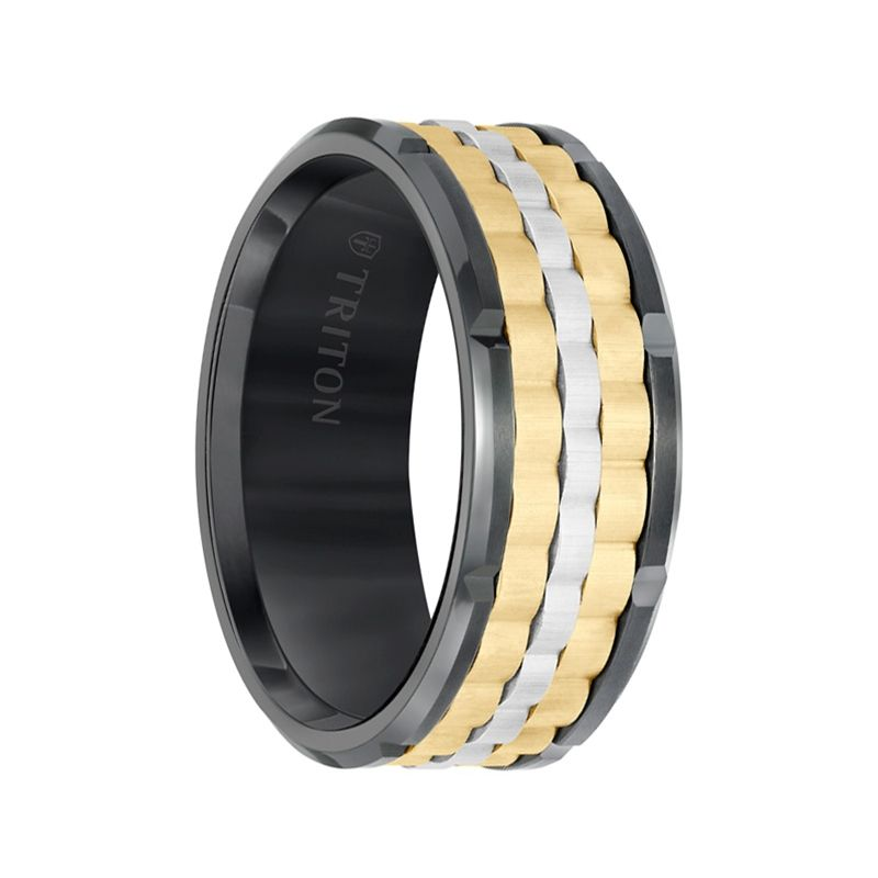 Black Tungsten Tri-Color Basket Weave Men's Wedding Band with Polished Edges & Cut Accents by Triton Rings - 9mm