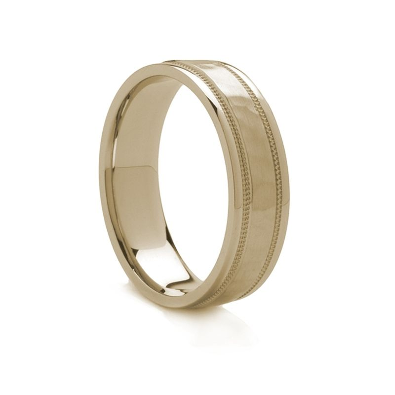 Hammered Finish Gold Ring - 18k
