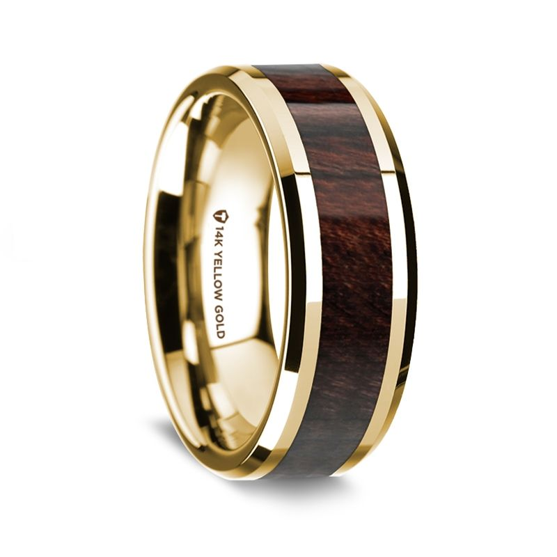 14K Yellow Gold Polished Beveled Edges Wedding Ring with Bubinga Inlay - 8 mm