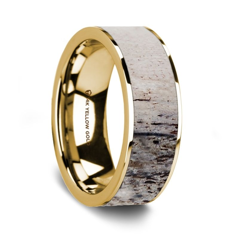 Flat Polished 14K Yellow Gold Wedding Ring with Ombre Deer Antler Inlay - 8 mm
